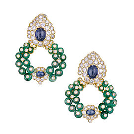 18K Yellow Gold Emerald Sapphire Diamond Ear Clips Earrings