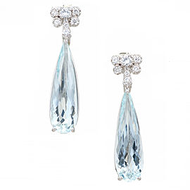 Platinum Diamond Pear Aquamarine Earrings