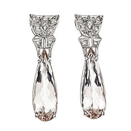 Platinum Diamond Morganite Earrings