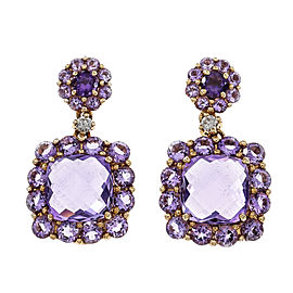 18K Rose & White Gold Diamond Amethyst Dangle Earrings