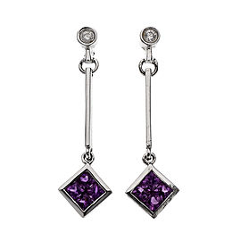 Diamond Pink Sapphire Dangle Earrings 14k White Gold