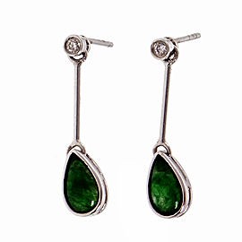 Natural Untreated Jadeite Jade Dangle Earrings 18k White Gold GIA Certified