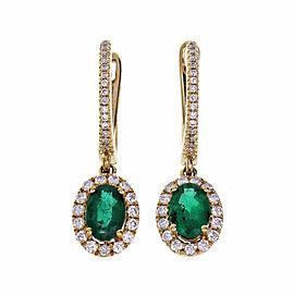 Diamond Hoop Earrings Emerald Halo Dangle 14k Yellow Gold