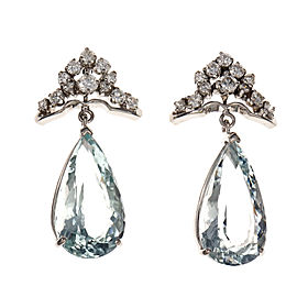 Vintage 1960 Pear Aqua Dangle Earrings 14k White Gold