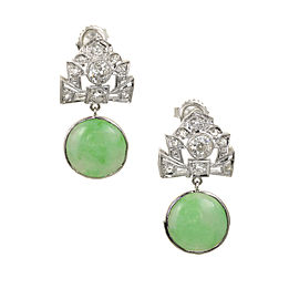 Natural Jadeite Jade Art Deco Dangle Earrings Platinum Diamonds GIA Certified