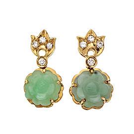 Natural Light Green Carved Jadeite Jade Flower Earrings 14k Diamond