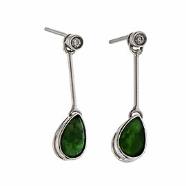 Natural Bright Green Jadeite Jade Dangle Earrings 18k White Gold GIA Certified