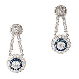 Vintage Art Deco Dangle Earrings Diamond Sapphire Platinum