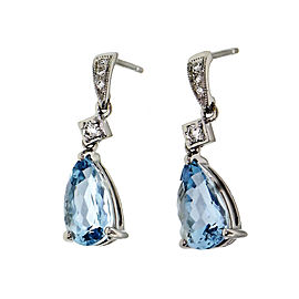Peter Suchy Pear Aqua Dangle Earrings Antique Inspired Diamond 14k White Gold
