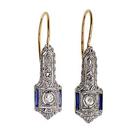 Vintage 1910 Sapphire Old European Cut Diamond Earrings Platinum Top