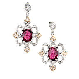 Charles Krypell 18K Rose & White Gold with Pink Tourmaline & Diamond Dangle Earrings