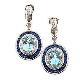 Charles Krypell 18K White Gold with 4.20ct. Sapphire 2.86ct. Diamond and 3.50ct. Aqua Earrings