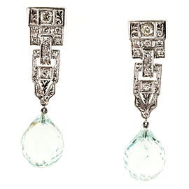 Vintage Art Deco Platinum 20.50ct Aqua Briolette & Diamonds Dangle Earrings