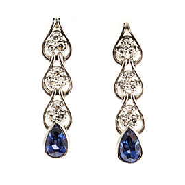 14K White Gold Sapphire & Diamond Dangle Earrings