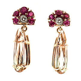 14K Rose Gold 4.43ct Bi Color Tourmaline, Ruby & Diamond Earrings