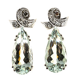 Vintage Art Deco Platinum with 12.00ct Aquamarine and 0.24ct Diamond Dangle Earrings