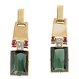 14K Yellow Gold 25ct Green Tourmaline, 0.40ct Ruby and 0.12cts Diamond Earrings