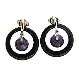 Vintage 5.57ct Hanging Amethyst Briolette Jet Onyx 14k Gold Dangle Earrings