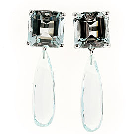 Peter Suchy 14K White Gold 29.06ct Aquamarine Dangle Earrings