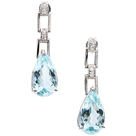 Platinum 9.15ct Aquamarine and Diamond Dangle Earrings