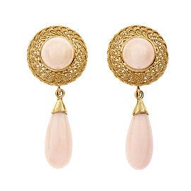 Natural Pink Orange Coral Dangle Earrings 18k Yellow Gold GIA Certified