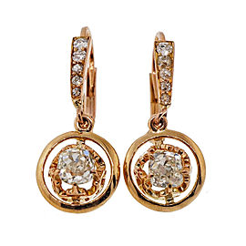 18K Rose Gold Diamond Dangle Earrings