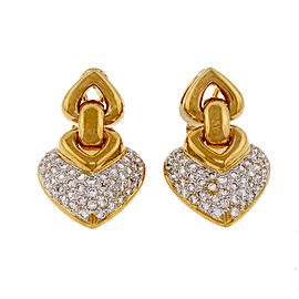 18K Yellow & White Gold 2.50ct Diamonds Shield Shape Dangle Earrings