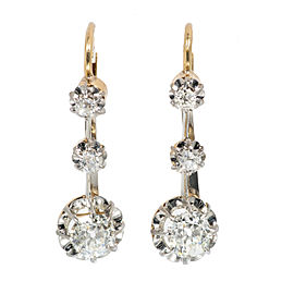 Platinum & 18K Yellow Gold Diamond Dangle Earrings