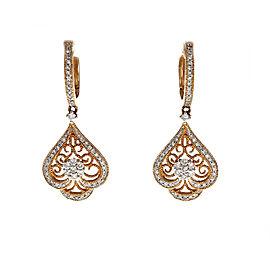 14K Rose Gold Filigree Diamond Dangle Earrings