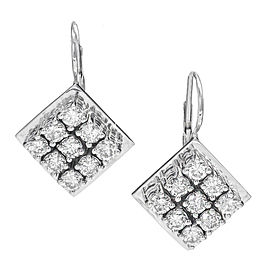 14K White Gold Diamond Square Euro Wire Tops Earrings
