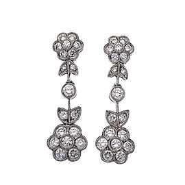 Diamond Dangle Earrings 14k White Gold Bead Set