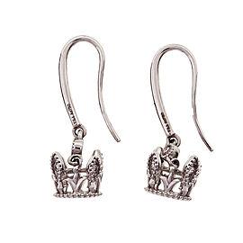 Crown Design Diamond Dangle Earrings 18k White Gold