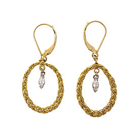 Vintage 1950 Handmade Dangle Earrings Marquise Diamond Yellow & White Gold