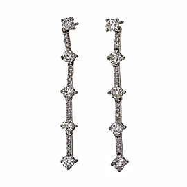 1.00ct Diamond Dangle Earrings 14k White Gold Full Cut