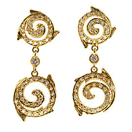 Doris Panos 18K Yellow Gold & 0.90ct Diamond Swirl Dangle Earrings