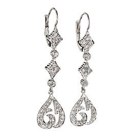 Doris Panos 18K White Gold .70ct Diamond Drop Dangle Earrings