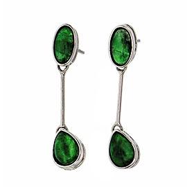Natural Jadeite Jade Dangle Earrings 18k White Gold GIA Certified
