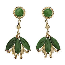 Natural Omphacite Jadeite Jade Dangle Earrings 22k Gold GIA Certified