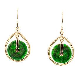 14K Rose Gold Jadite Jade Disc Dangle Earrings