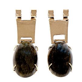 Vintage 14K Yellow Gold 31.00ctw. Blue Spectrolite Earrings