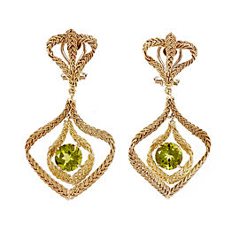 18k Yellow Gold Hand Woven Italian Peridot Dangle Earrings
