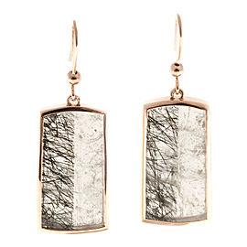 Vintage 18K Rose Gold & 26.46ct Transparent Quartz Crystal Earrings