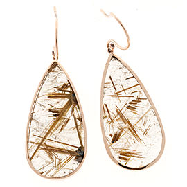 18K Rose Gold 40.66ct Quartz Crystal Rutile Dangle Earrings