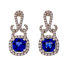 18k White Gold 1.75ctw Sapphires Diamond Dangle Earrings