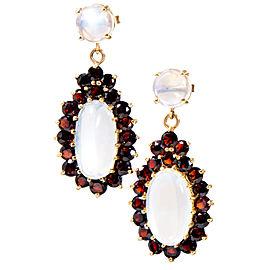Vintage 14K Yellow Gold 4.50cts Garnet & Blue Moonstone Pierced Earrings
