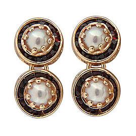 Vintage 1950s 2 Section Four 5.5mm Mobe Pearl 14k Gold Garnet Dangle Earrings