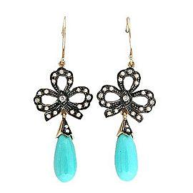 Vintage 9k Turquoise Dangle 40 Pearl 6 Round Diamond Bow Earrings