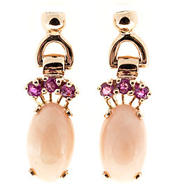 14K Rose Gold & 12.25ct. Coral & 0.60ct. Sapphire Earrings