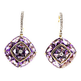 Bellari 18K Yellow Gold 13.43ct Amethyst & 0.20cts Diamond Dangle Earrings