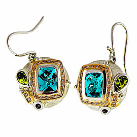 Bellarri 18K Rose Gold and Sterling Silver Blue Topaz, Diamond Peridot and Garnet Dangle Earrings